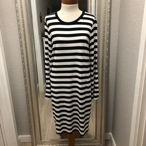 MICHAEL KORS STRIPED LONG SLEEVED SHIRT DRESS